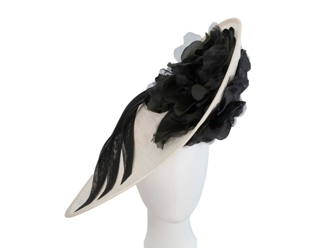 Large black & cream racing fascinator with flowers by