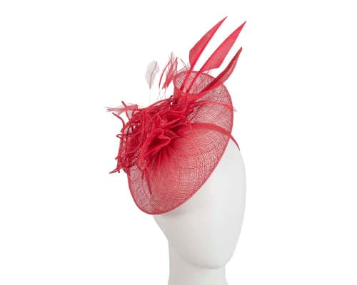 Red racing fascinator with feathers by Max Alexander Fascinators.com.au