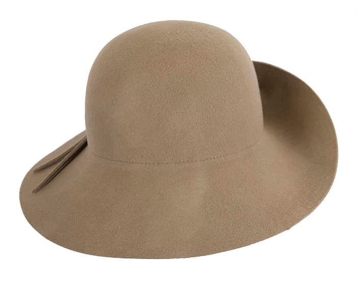 Unusual wide brim camel felt hat by Max Alexander Fascinators.com.au