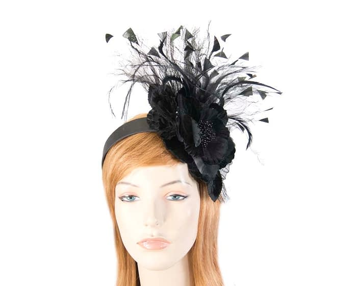 Black feather flower racing fascinator Fascinators.com.au