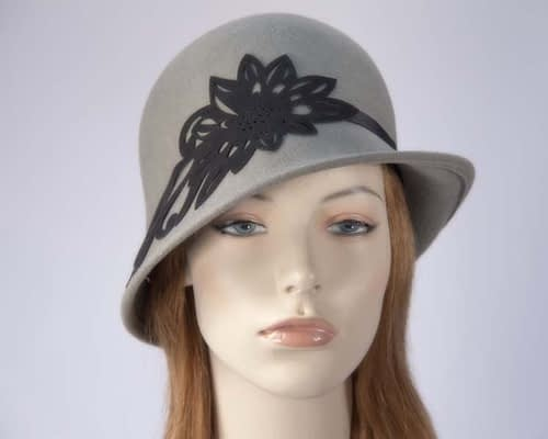 Grey ladies winter felt cloche hat Max Alexander J285G Fascinators.com.au