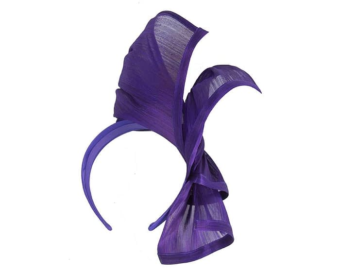 Twisted purple silk abaca fascinator by Fillies Collection Fascinators.com.au