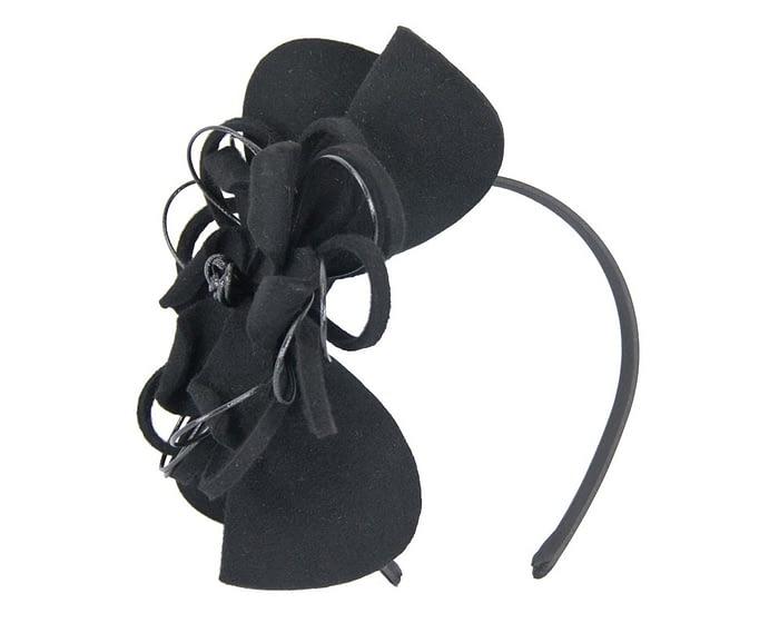 Black felt flower fascinator headband Fascinators.com.au