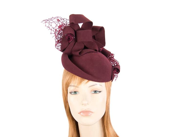 Bespoke wine felt winter racing fascinator Fascinators.com.au