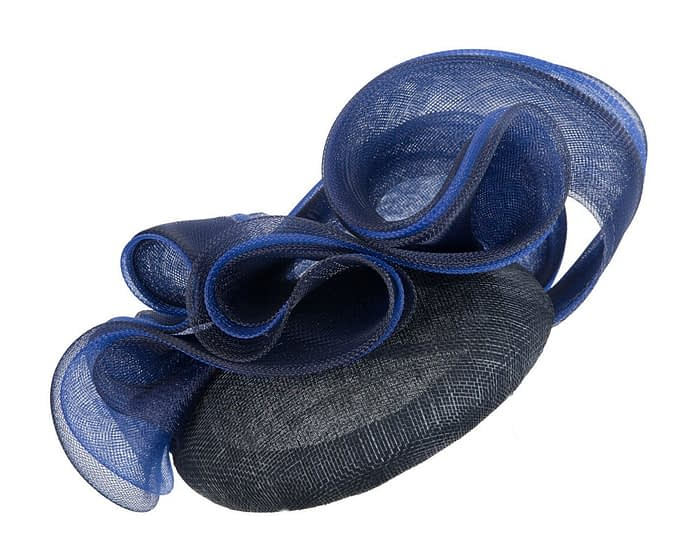 Navy pillbox racing fascinator with blue wavy trim by Fillies Collection Fascinators.com.au