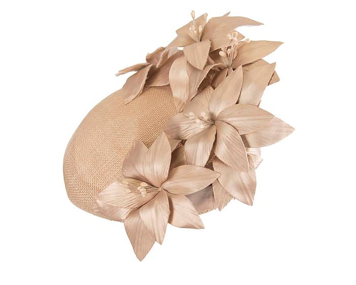 Gold leather flowers pillbox by Fillies Collection Fascinators.com.au