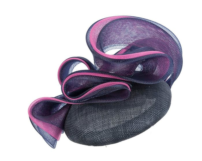 Navy pillbox racing fascinator with fuchsia wavy trim by Fillies Collection Fascinators.com.au