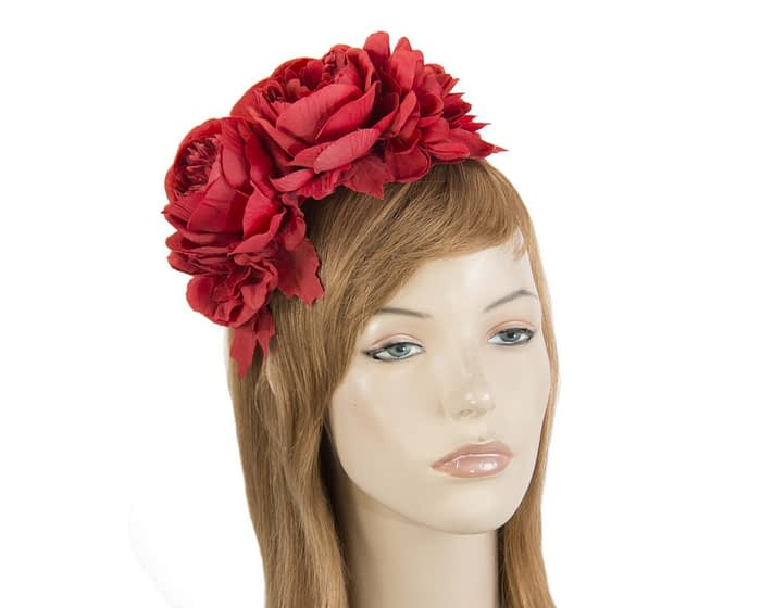 Red flower headband by Max Alexander Fascinators.com.au