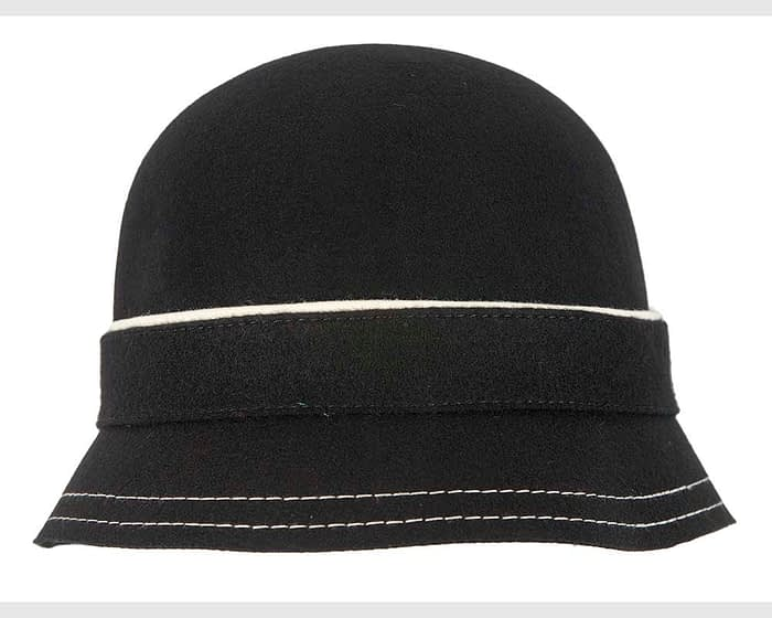 Black bucket cloche hat Fascinators.com.au