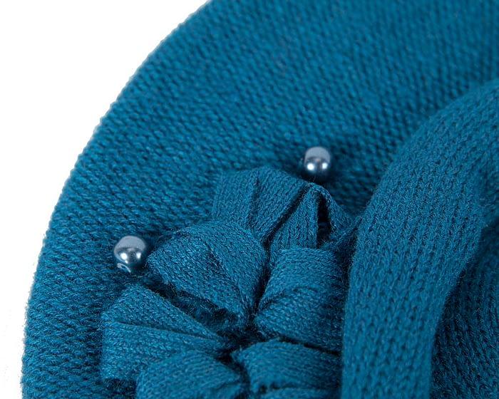 Classic warm blue wool beret. Made in Europe Fascinators.com.au
