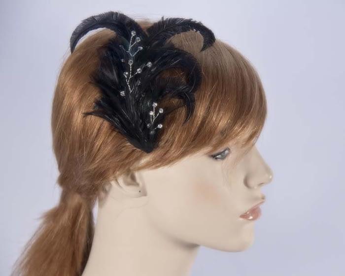 Black feather comb 4400B Fascinators.com.au