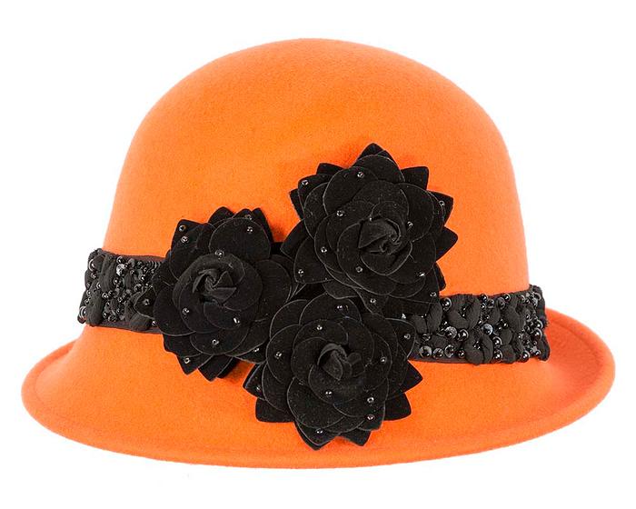 Orange felt ladies bucket hat by Fillies Collection Fascinators.com.au