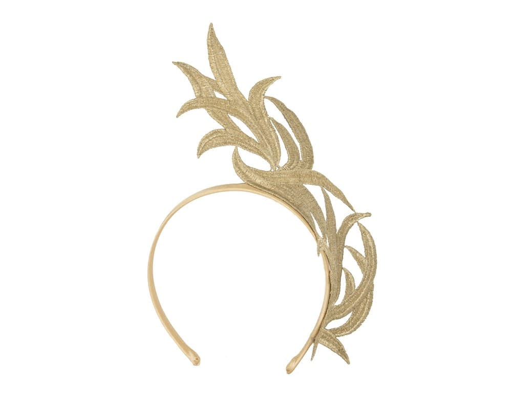 Gold reacing fascinator by Max Alexander