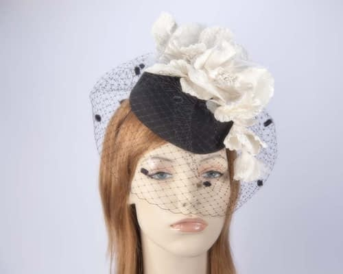 Black cream winter felt pillbox with face veil F574BC Fascinators.com.au