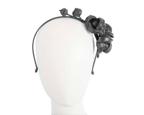 Black leather flower headband fascinator Fascinators.com.au