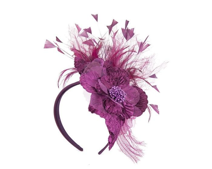 Burgundy wine feather flower racing fascinator Fascinators.com.au
