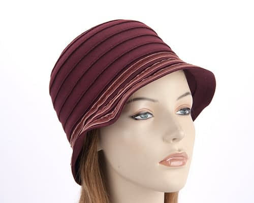Bucket hats J127BU Fascinators.com.au J127 burgundy5