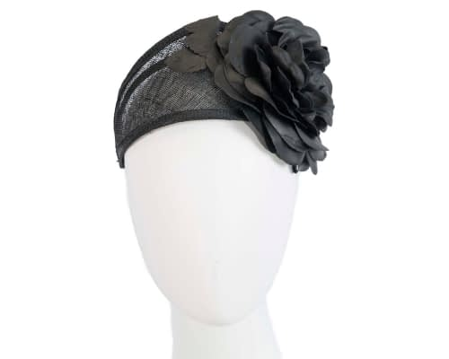 Black leather flower headband racing fascinator Fascinators.com.au