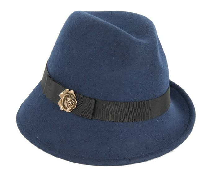 Navy felt trilby hats J273N Fascinators.com.au