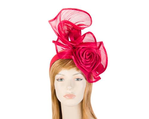 Exclusive red silk abaca racing fascinator Fascinators.com.au
