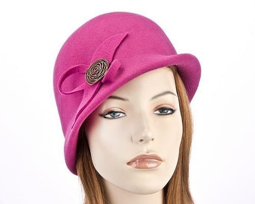 Fuchsia felt bucket hat with brass buckle J302F Fascinators.com.au