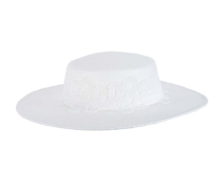 White boater lace hat Fascinators.com.au