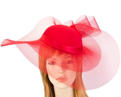 Red fashion hat for Melbourne Cup races & special occasions S152 Fascinators.com.au