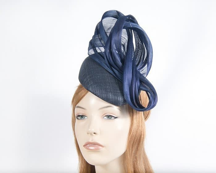 Navy pillbox silk abaca bow Fascinators.com.au