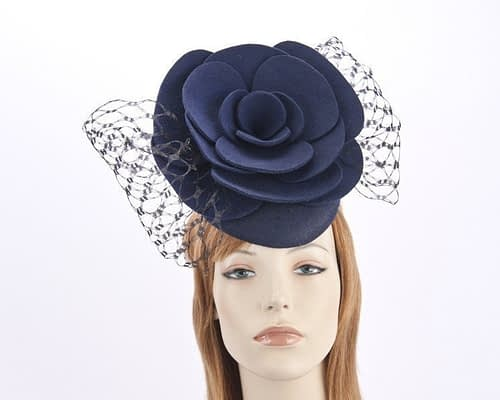 Navy pillbox with large felt flower F581N Fascinators.com.au
