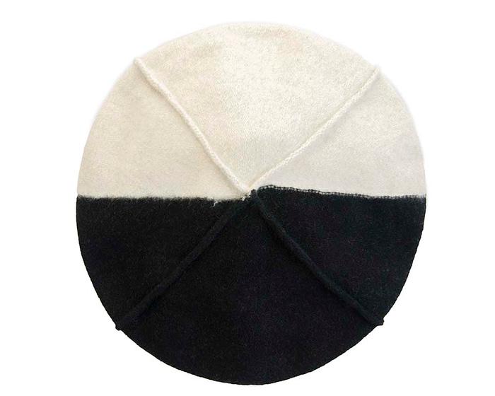 Warm cream and black woolen European Made beret Fascinators.com.au