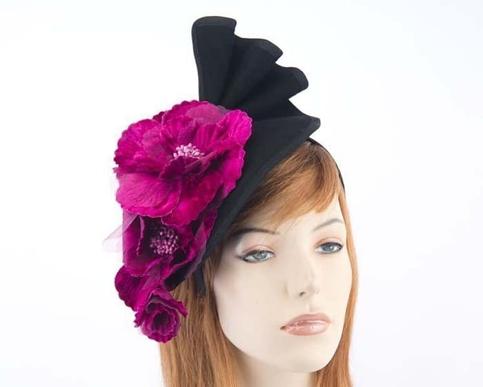 Black Fillies Collection fascinator with purple flowers F591BP Fascinators.com.au