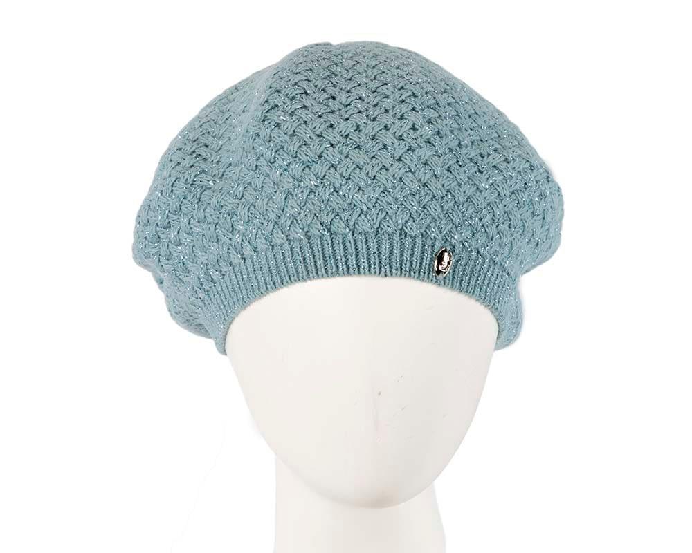 Classic warm crocheted sea blue wool beret. Made in Europe Fascinators.com.au
