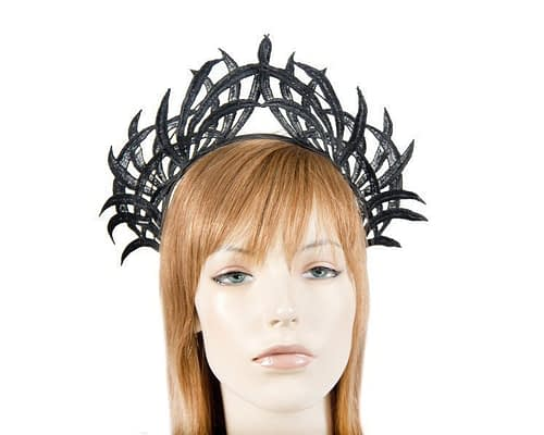 Black lace crown fascinator Fascinators.com.au