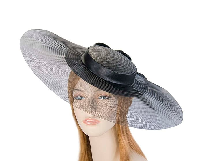 Wide brim black boater hat by Fillies Collection Fascinators.com.au