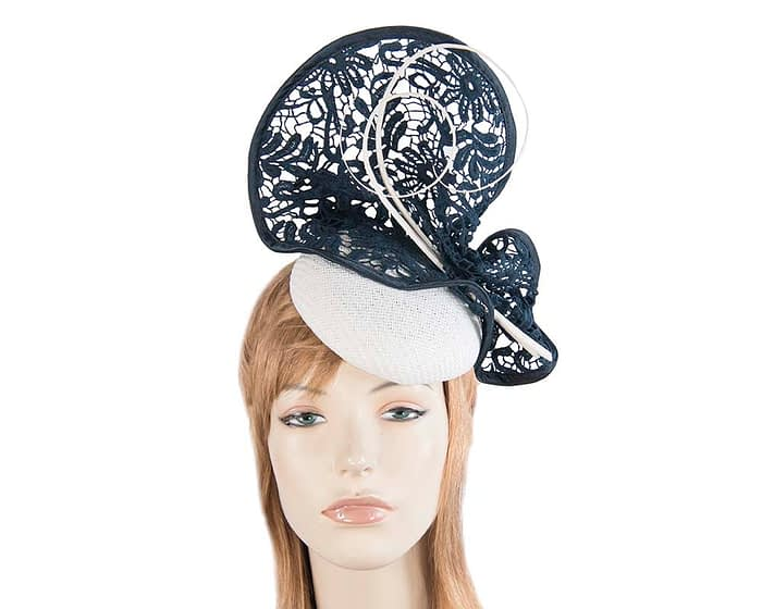 White navy lace pillbox hat for races S135WN Fascinators.com.au