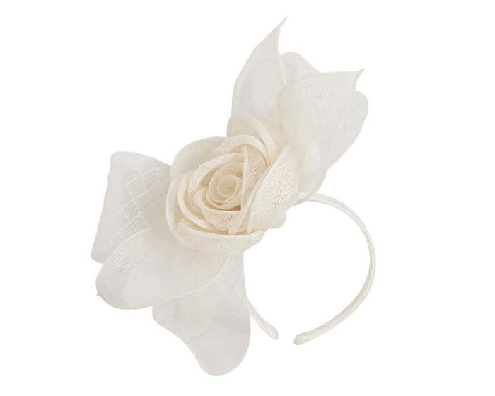 Large cream bow racing fascinator Fascinators.com.au