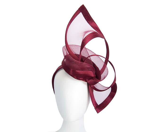 Edgy burguny fascinator by Fillies Collection Fascinators.com.au
