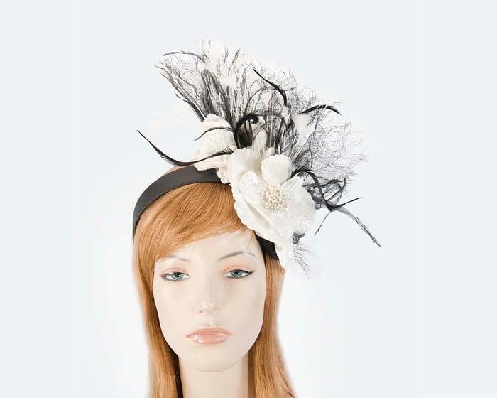 Black cream feather flower racing fascinator Fascinators.com.au