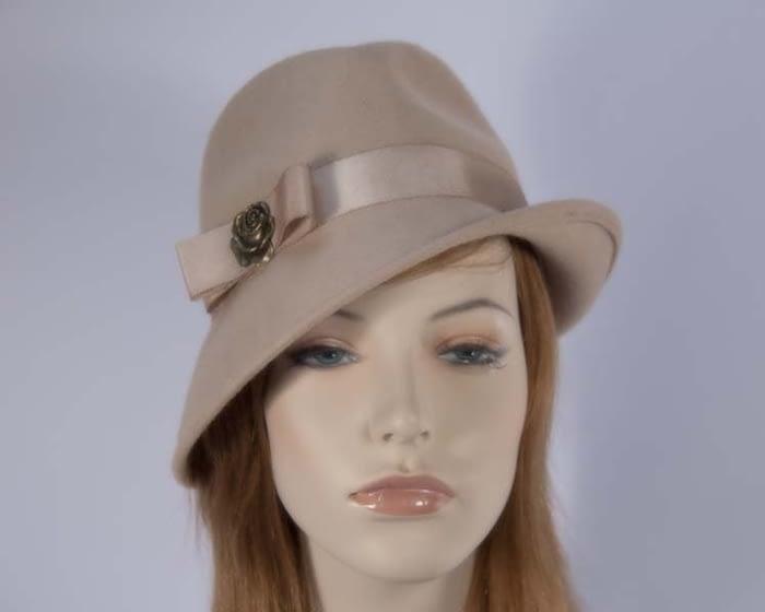 Beige felt trilby hats J273BE Fascinators.com.au