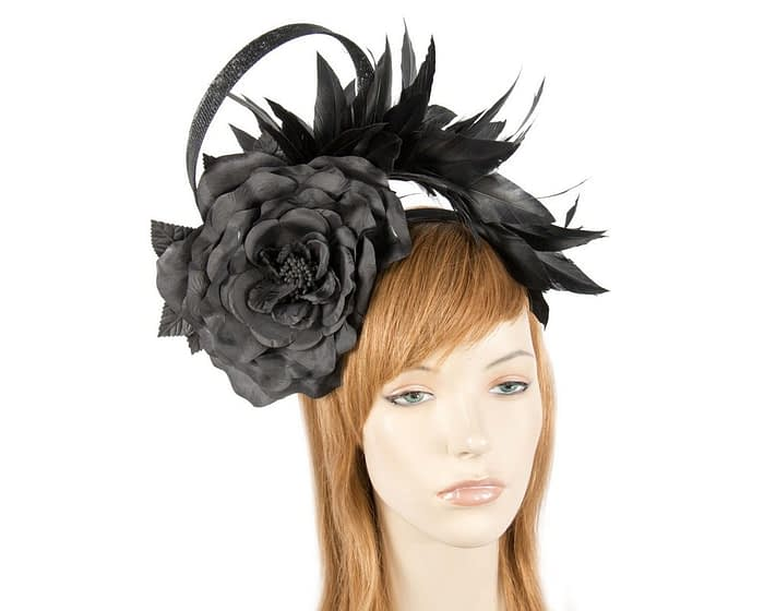 Large black flower & feathers fascinator Fascinators.com.au