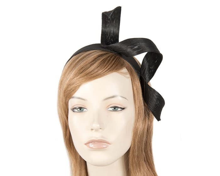 Black abaca twisted racing fascinator Fascinators.com.au