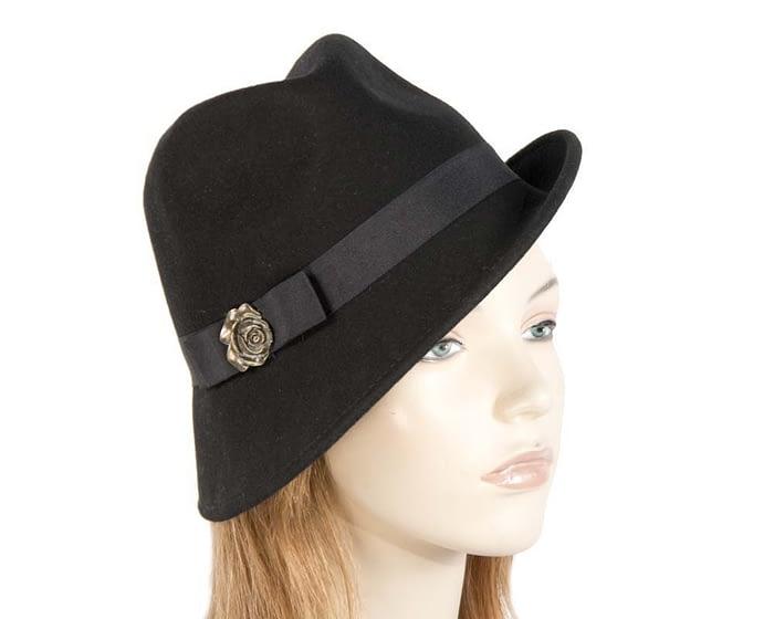 Black felt trilby hats J273B Fascinators.com.au