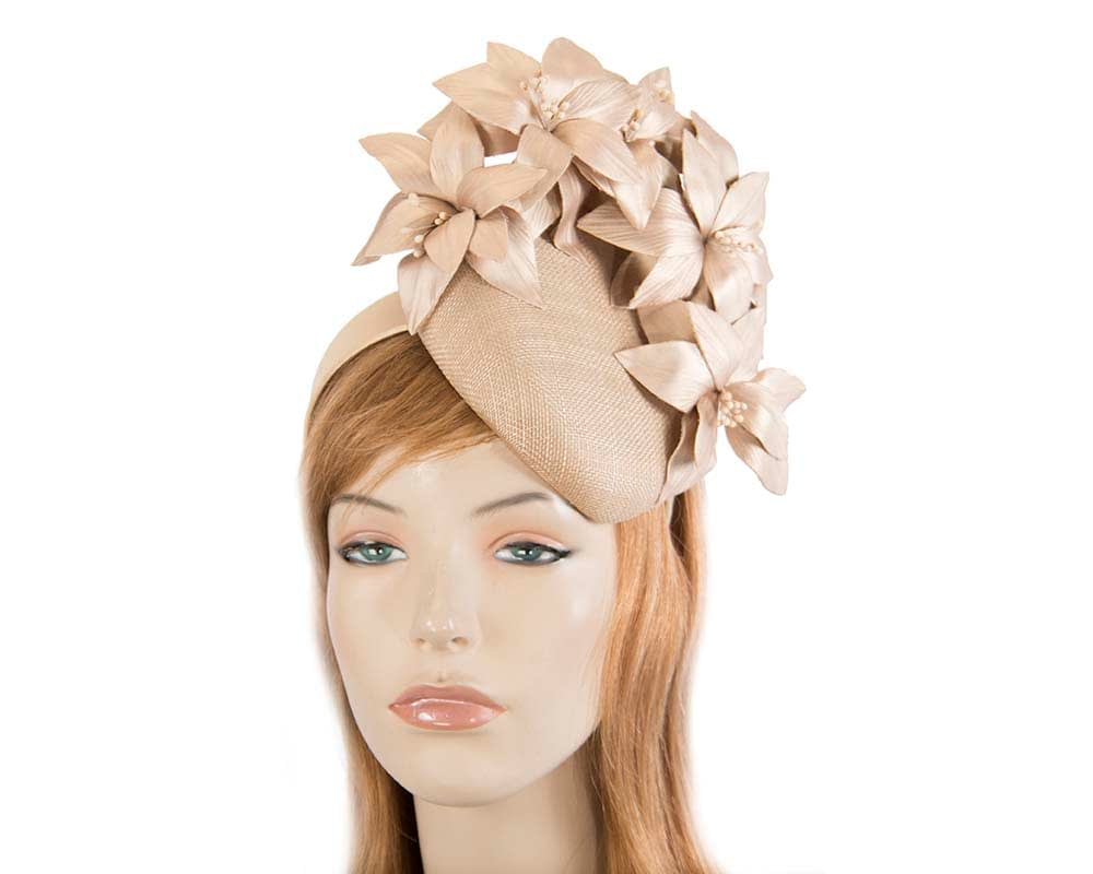 Gold pillbox with leather flowers by Fillies Collection