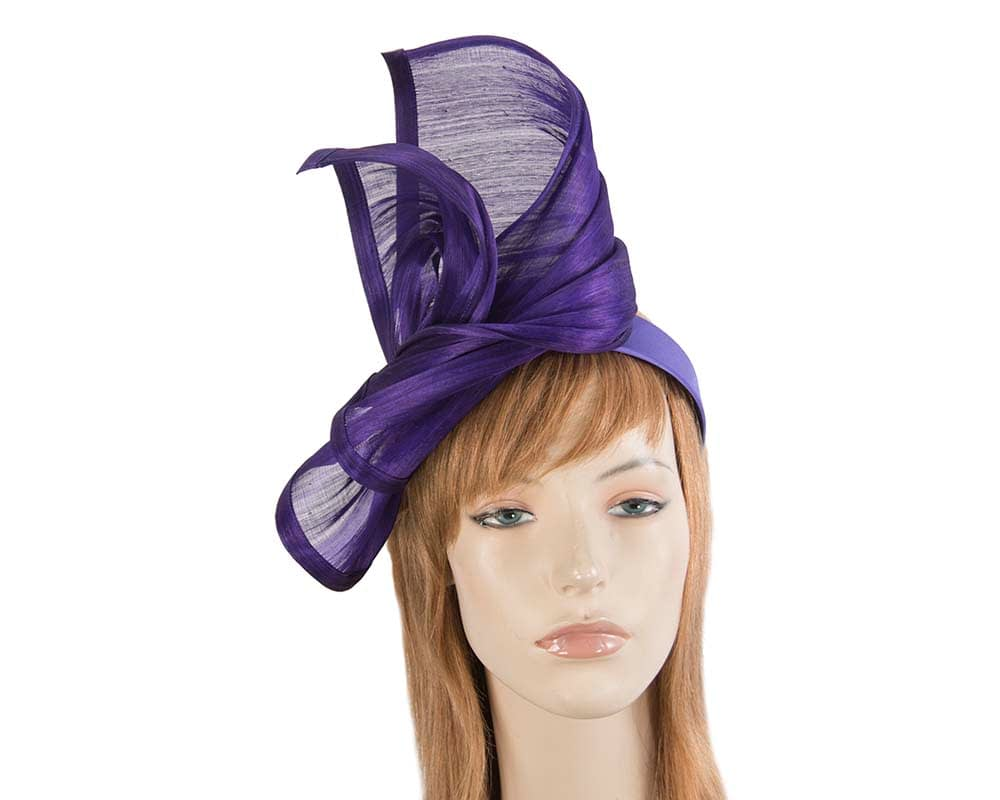 Bespoke purple silk abaca racing fascinator by Fillies Collection