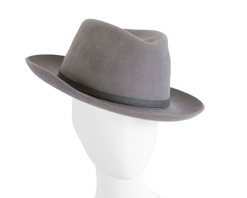 Grey rabbit fur mens wide brim fedora hat