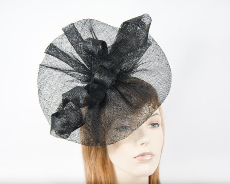 Large black sinamay fascinator