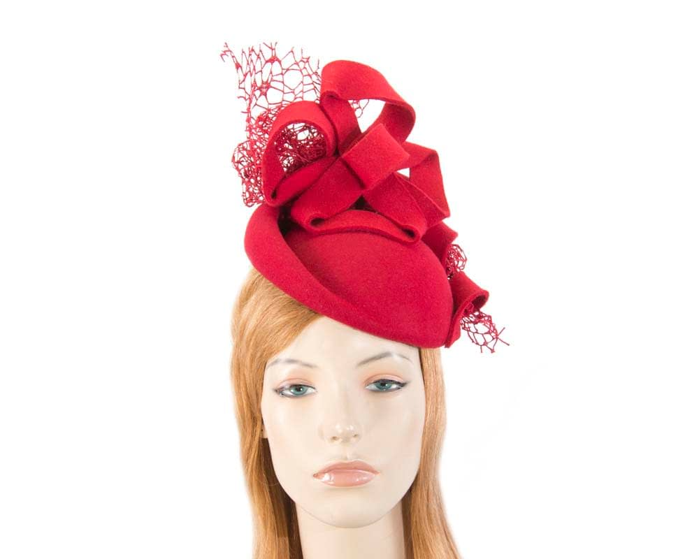 Bespoke red felt winter fascinator