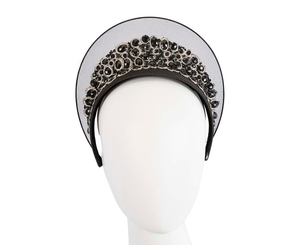 Limited edition black crown fascinator with stones