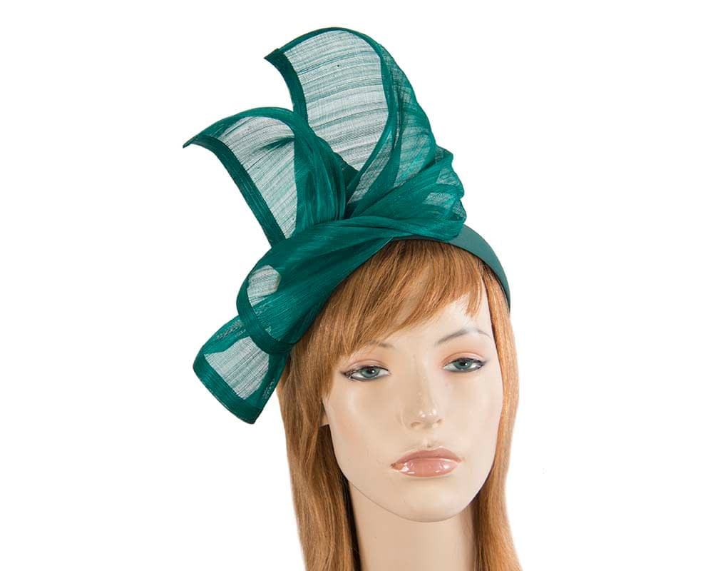 Bespoke teal silk abaca racing fascinator by Fillies Collection