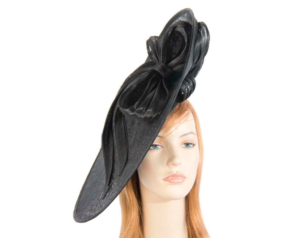 Large black fascinator hat for Melbourne Cup Ascot races buy online in Aus S131B